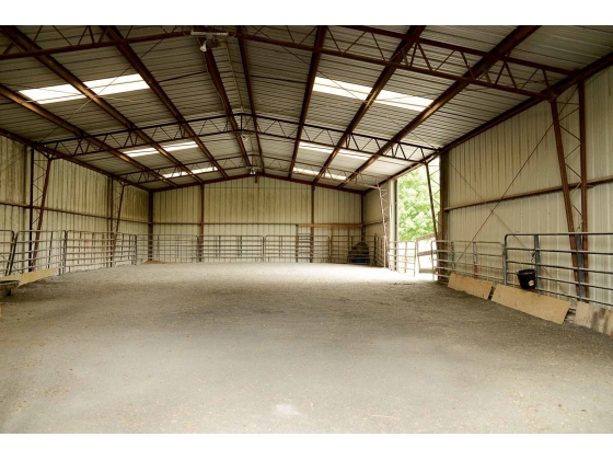 80 X 40 Indoor Arena w/ LED Lighting & Blue Stone Footing