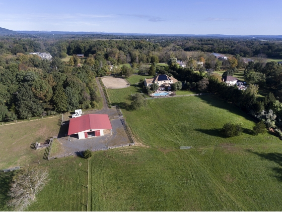 aerial view of barn & pasture
