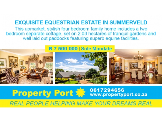 EQUESTRIAN HAVEN IN UPMARKET SUMMERVELD SOUTH AFRICA