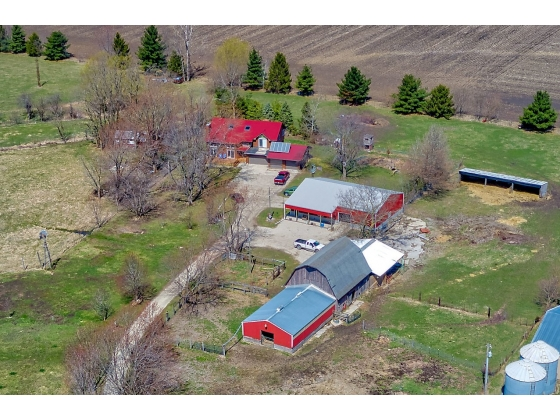 12 ACRE FARMETTE; 2,300 SQ FT HOME, MACHINE SHED, HORSE BARN, DAIRY BARN, LEAN-TO