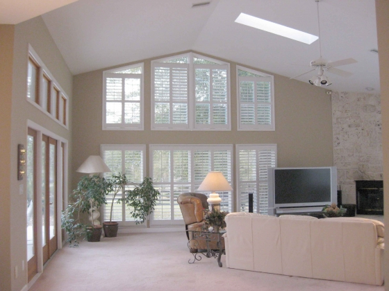 Custom Shutters in Expansive Family Room