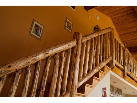 Stairwell overlooking family area and leading to sleeping loft