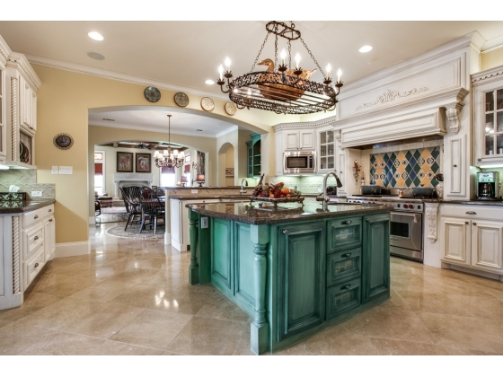 The chef's dream kitchen...granite counters, Wolf 6-burner gas cooktop and convection oven